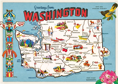 Cavallini Maps - Washington State — Pickle Papers
