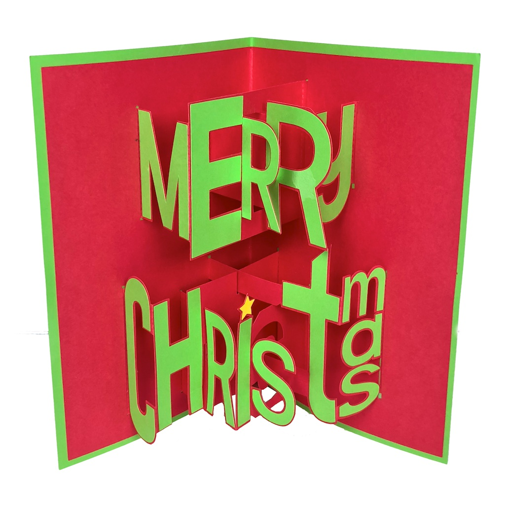 Christmas Pop Up Cards.Whimsy Font Merry Christmas Pop Up Card 3dcuts Com