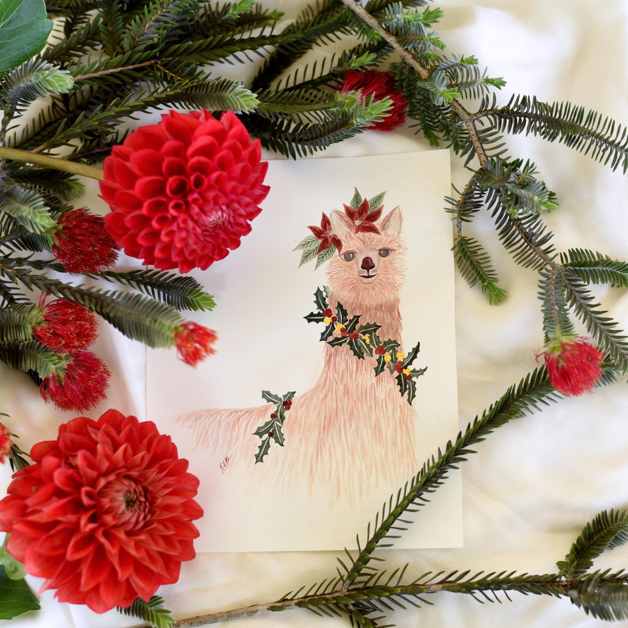 Llama Christmas.Christmas Llama Gift Tag Elk Prints