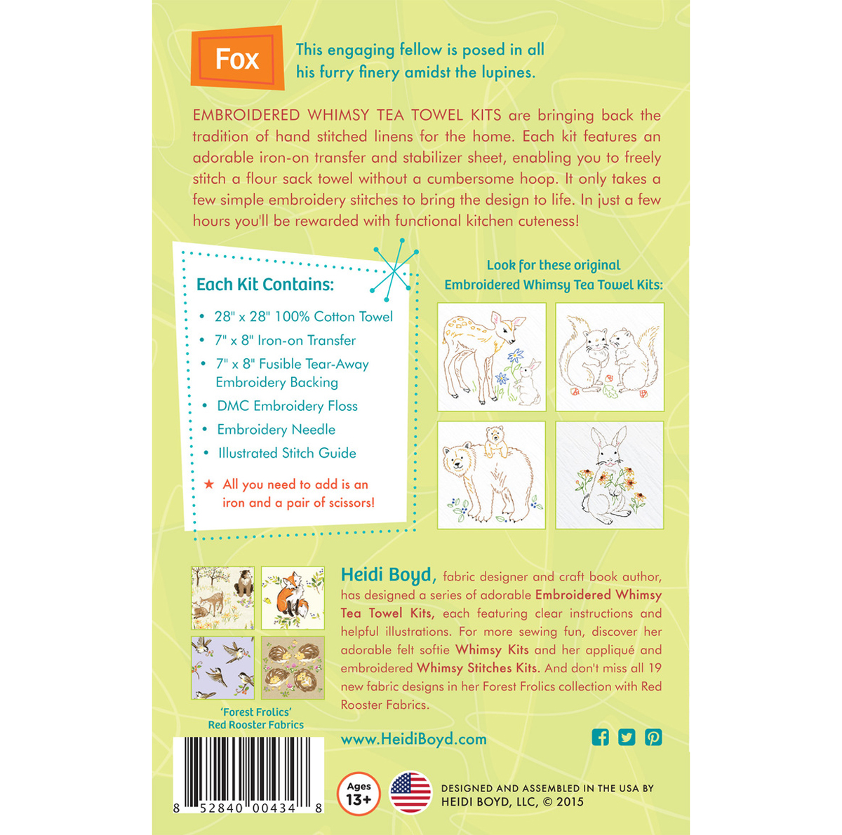 Fox Embroidered Whimsy Tea Towel Kit