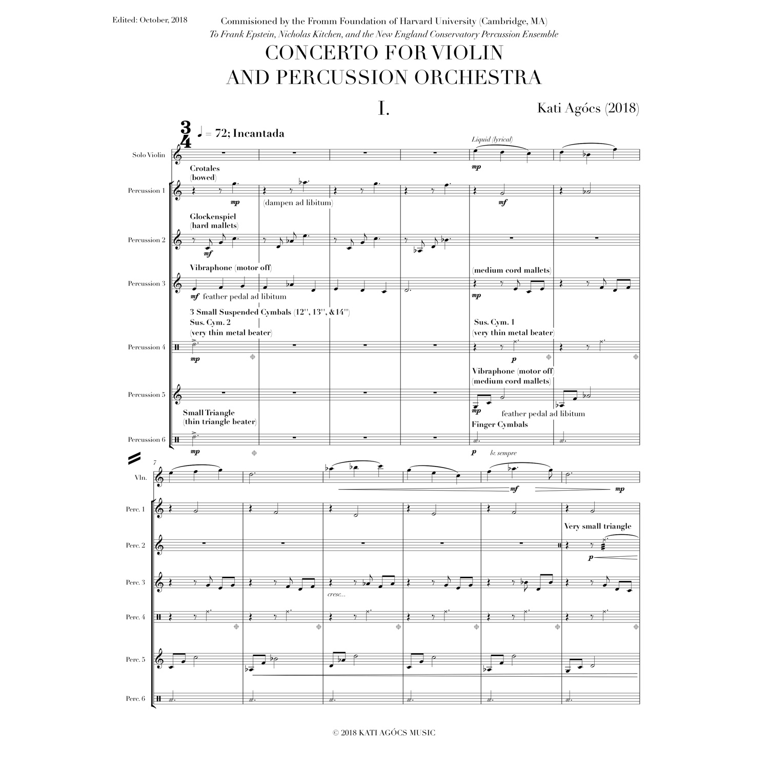 CONCERTO FOR VIOLIN AND PERCUSSION ORCHESTRA — KATI AGÓCS | OFFICIAL  WEBSITE | CONTEMPORARY MUSIC COMPOSER | CLASSICAL MUSIC EDUCATOR | SHEET  MUSIC