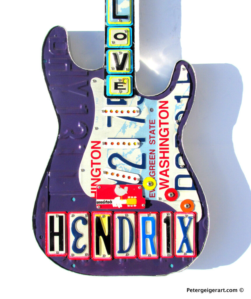 Jimi Hendrix Wall Decor Guitar Art License Plate One Of A Kind Metal Peter Geiger