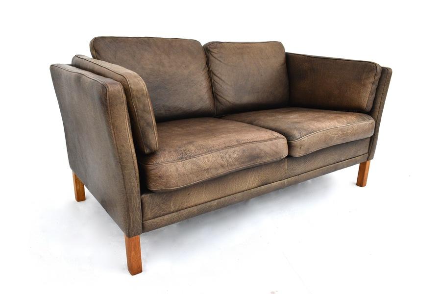 Danish Mogens Hansen Brown Leather 2 Seater Sofa House Of Twenty