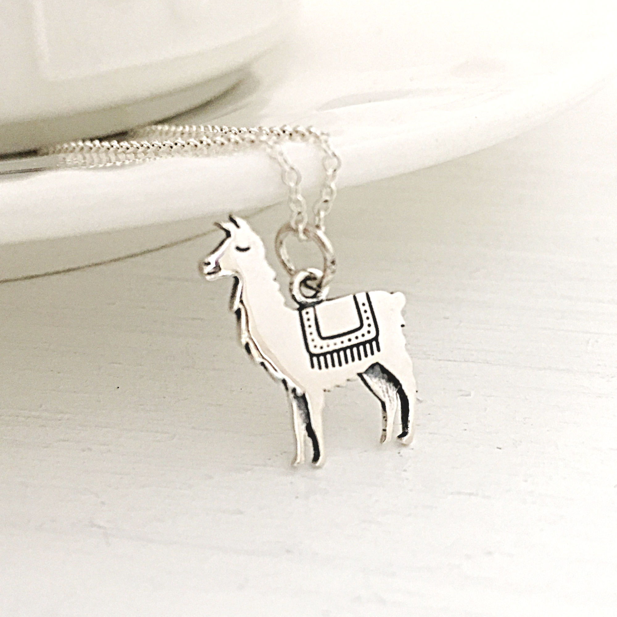 Sterling Silver Llama Charm Pendant on a Box Chain Necklace