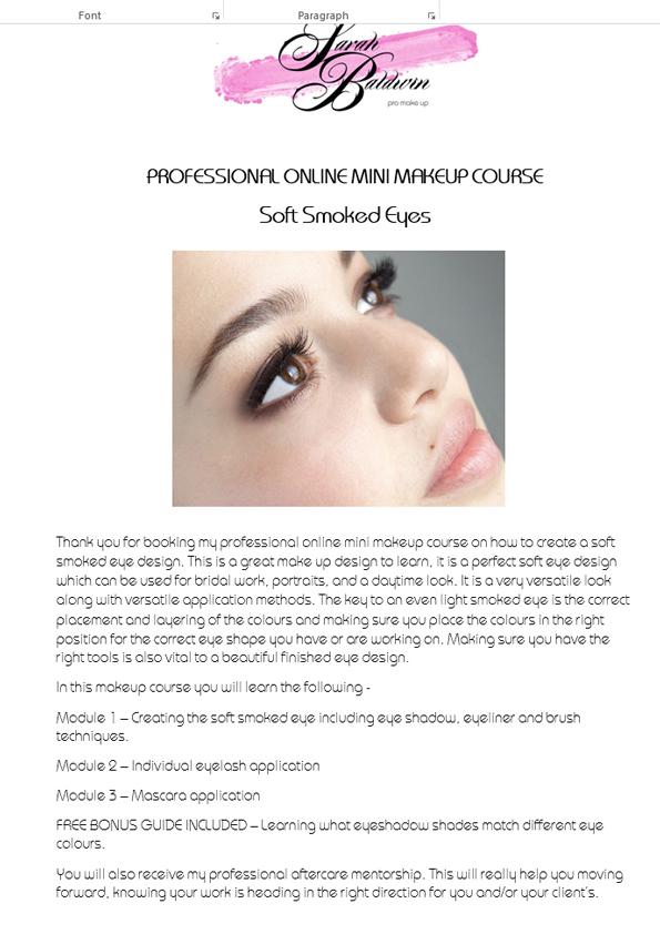 Video Pdf Eye Makeup Course Sarah Baldwin Professional Make Up