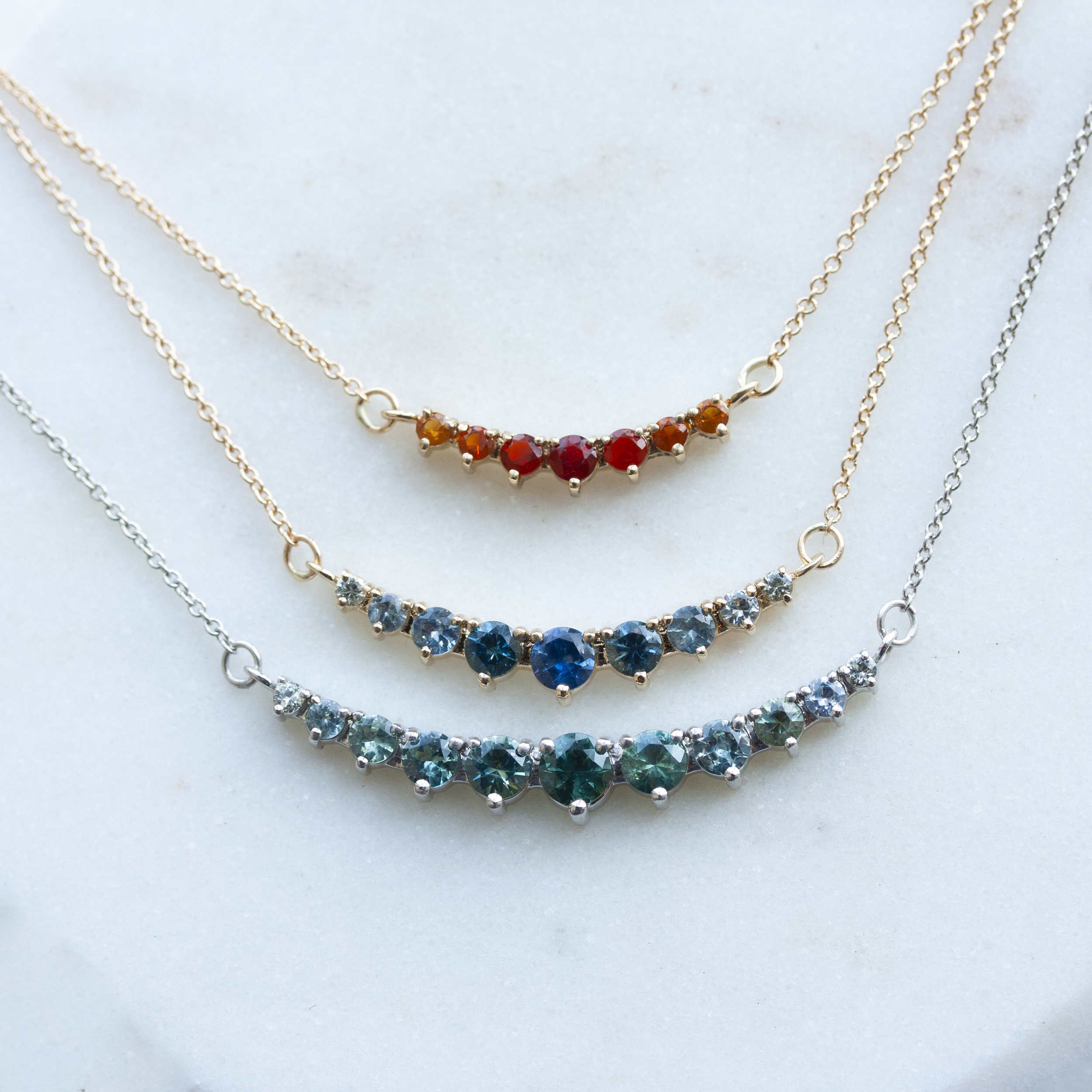 Green Sapphire Ombre Necklace — Emily Chelsea Jewelry
