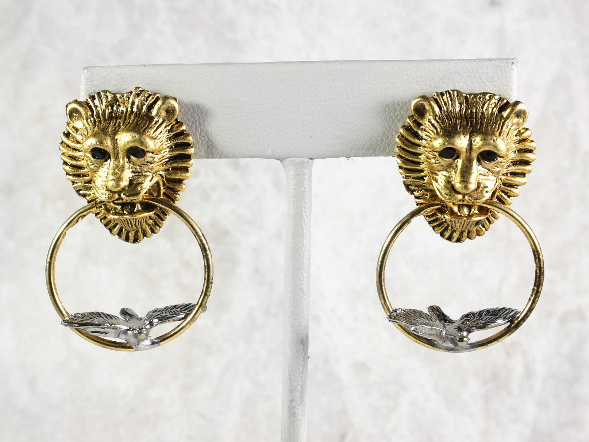 Lion And Bird Door Knocker Earrings, E192
