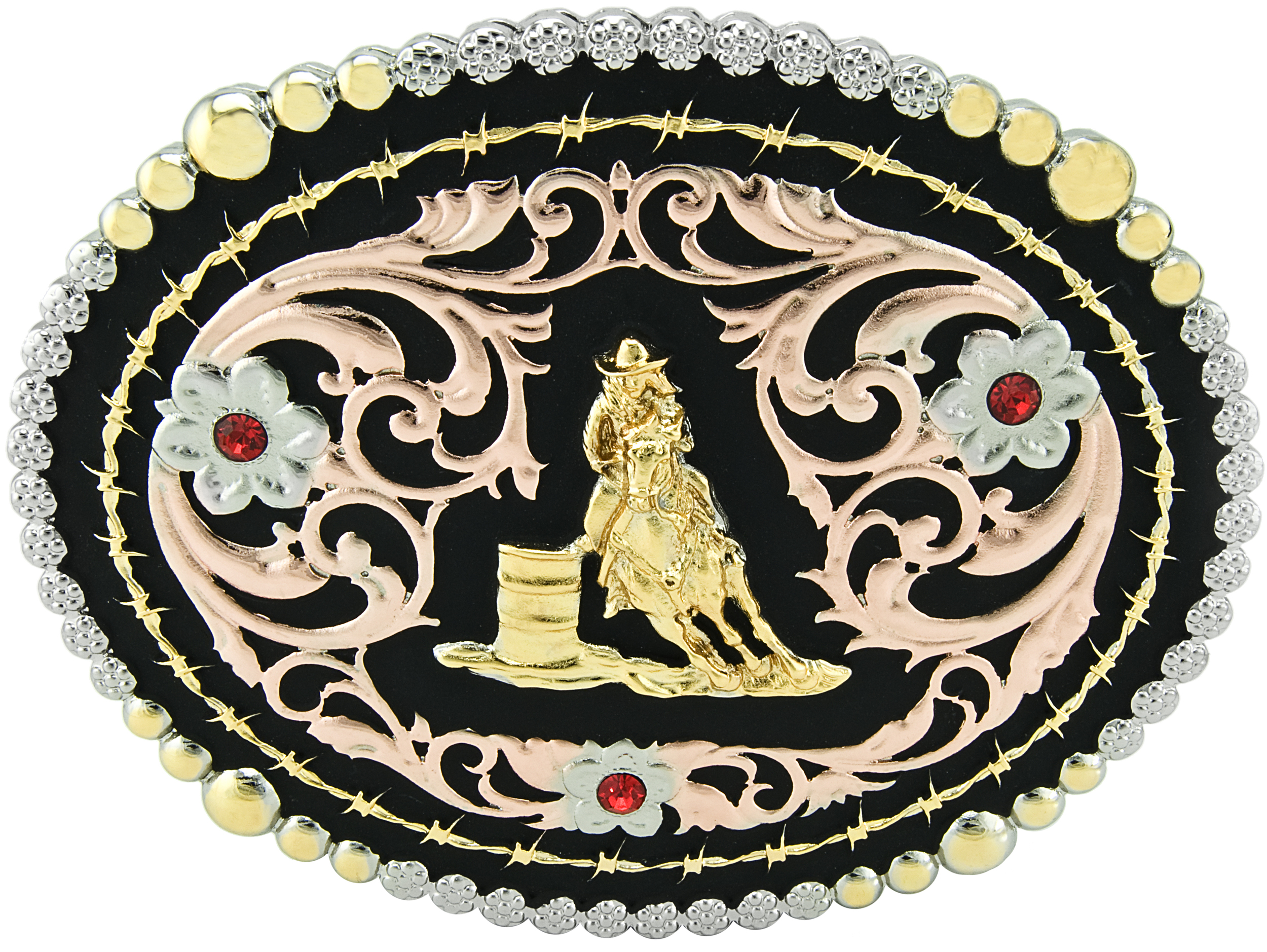 Bull Rider Tri-Color Barbed Wire Oval Buckle by Taylor Brand