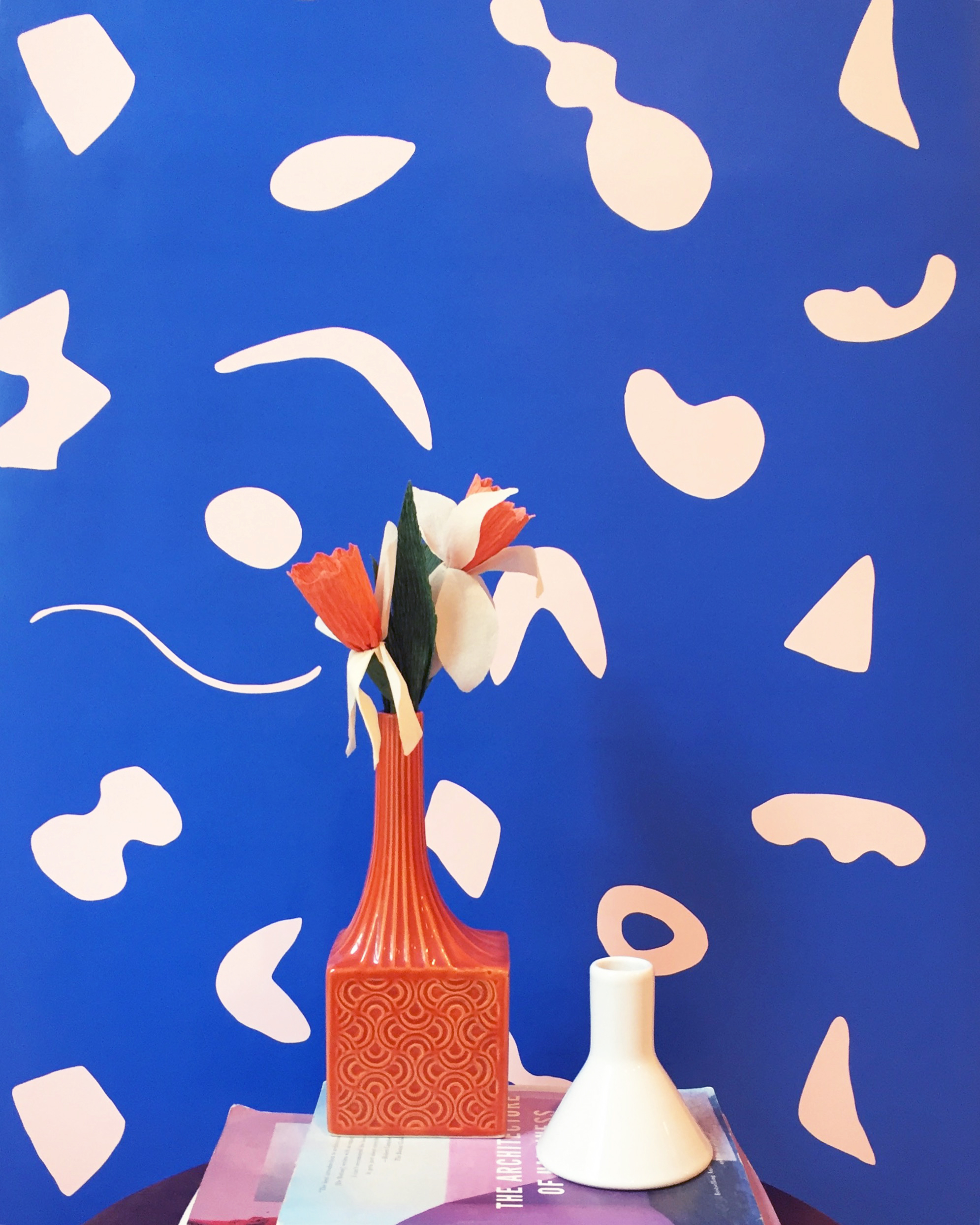 Shape Theory Wallpaper Blue And Peach Kate Zaremba Company