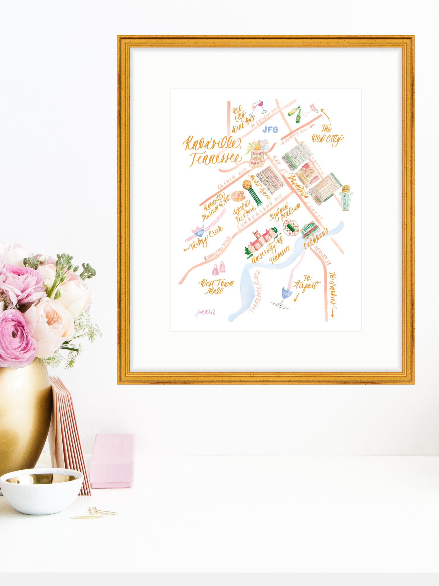 picture regarding Printable Maps of Tennessee identified as Knoxville Watercolor Map Artwork Print Effortlessly Jessica Marie