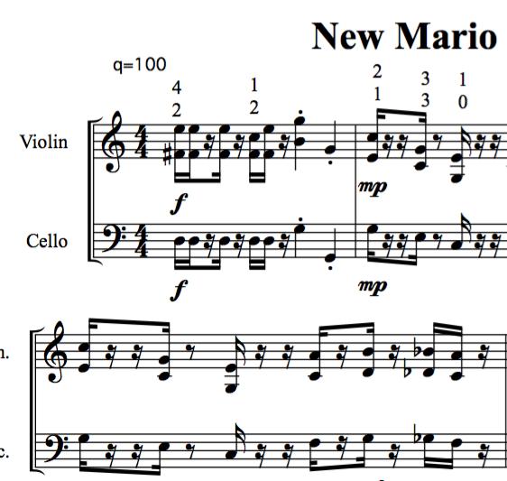Super Mario Bros  for Violin and Cello Sheet Music — Nathan Chan