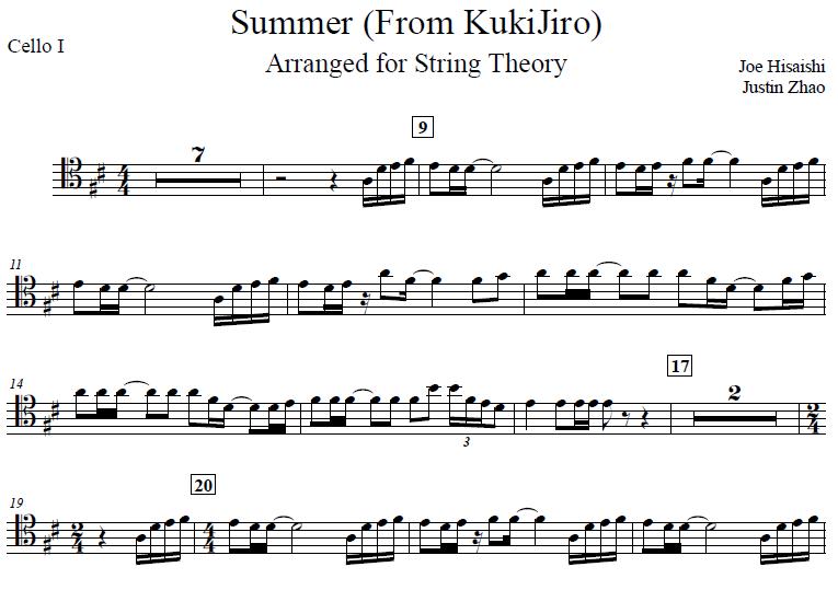 Summer (Kikujiro) - Hisaishi for Cello Quintet — String Theory Cellos