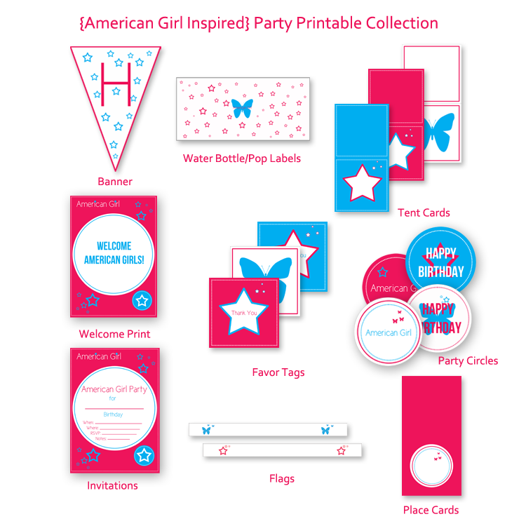 picture relating to American Girl Ideas Printable identify American Female Encouraged Get together Printables Kristi Murphy Do-it-yourself Website