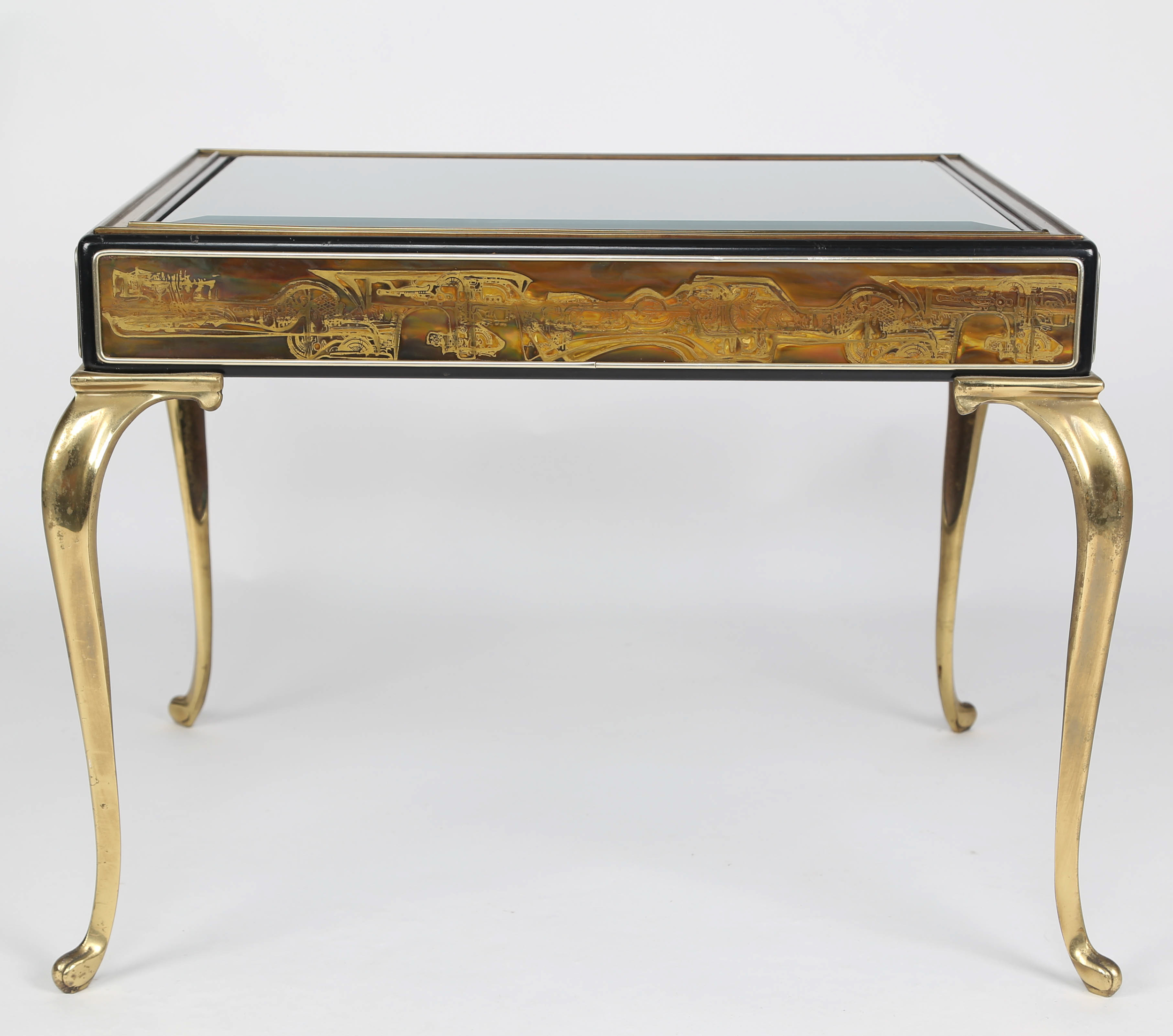 Brass And Acid Etched Bronze Side Table By Bernhard Rohne For