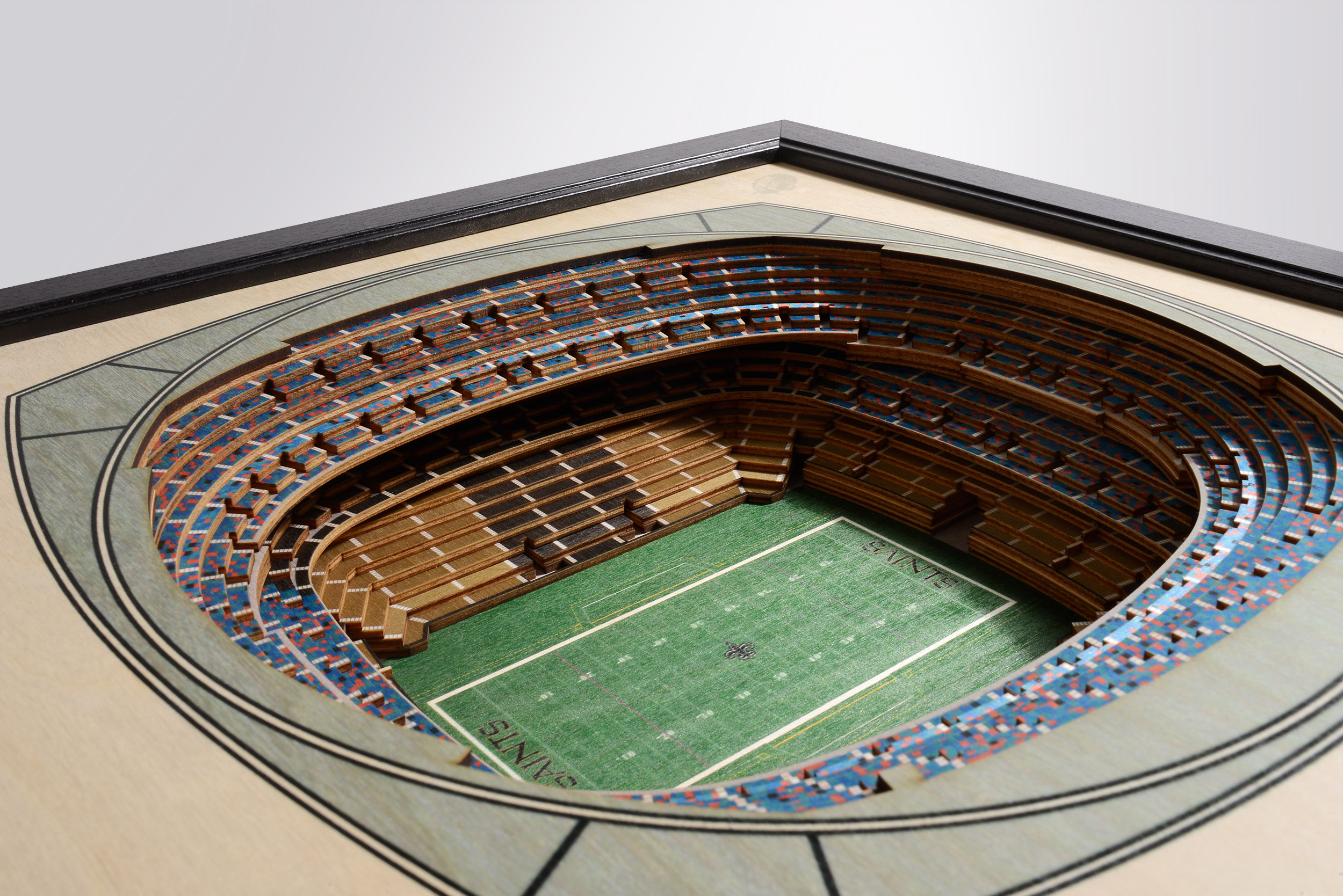 New Orleans Saints Mercedes Benz Superdome 3d Wood Stadium Replica 3d Wood Maps Bella Maps