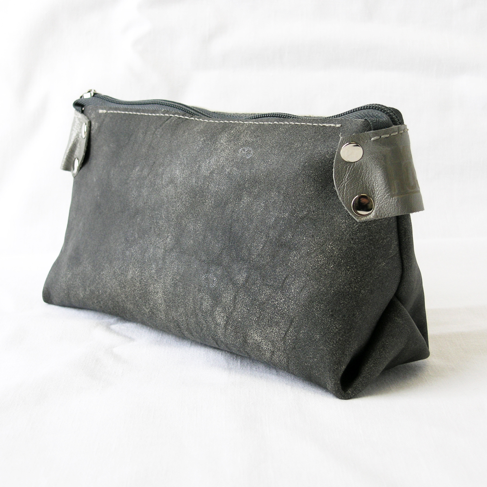 Upcycled Leather Makeup Bag Cosmetic
