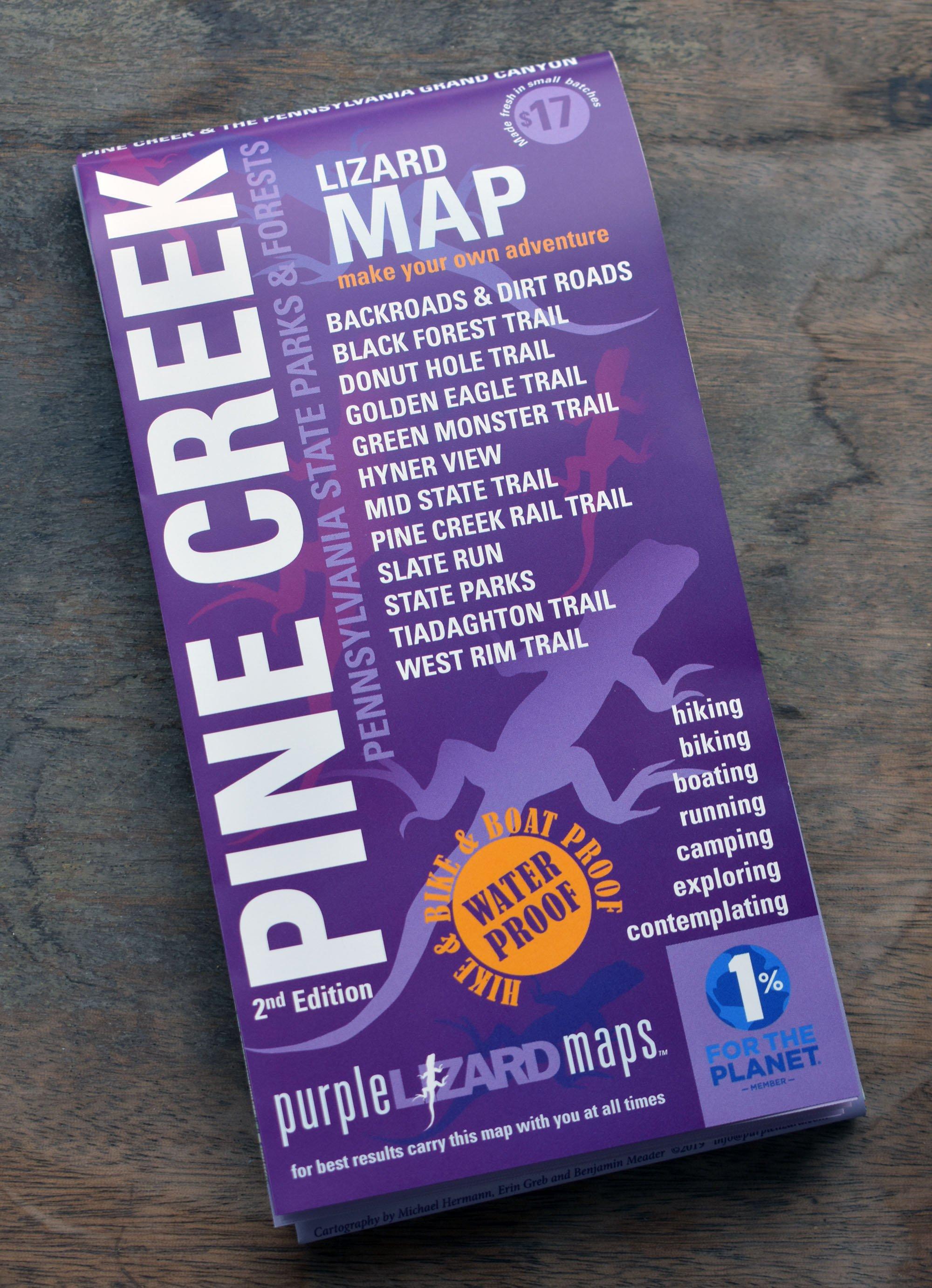 Purple Lizard Map: Pine Creek (2nd edition) — WHISTLESTOP BOOKSHOP