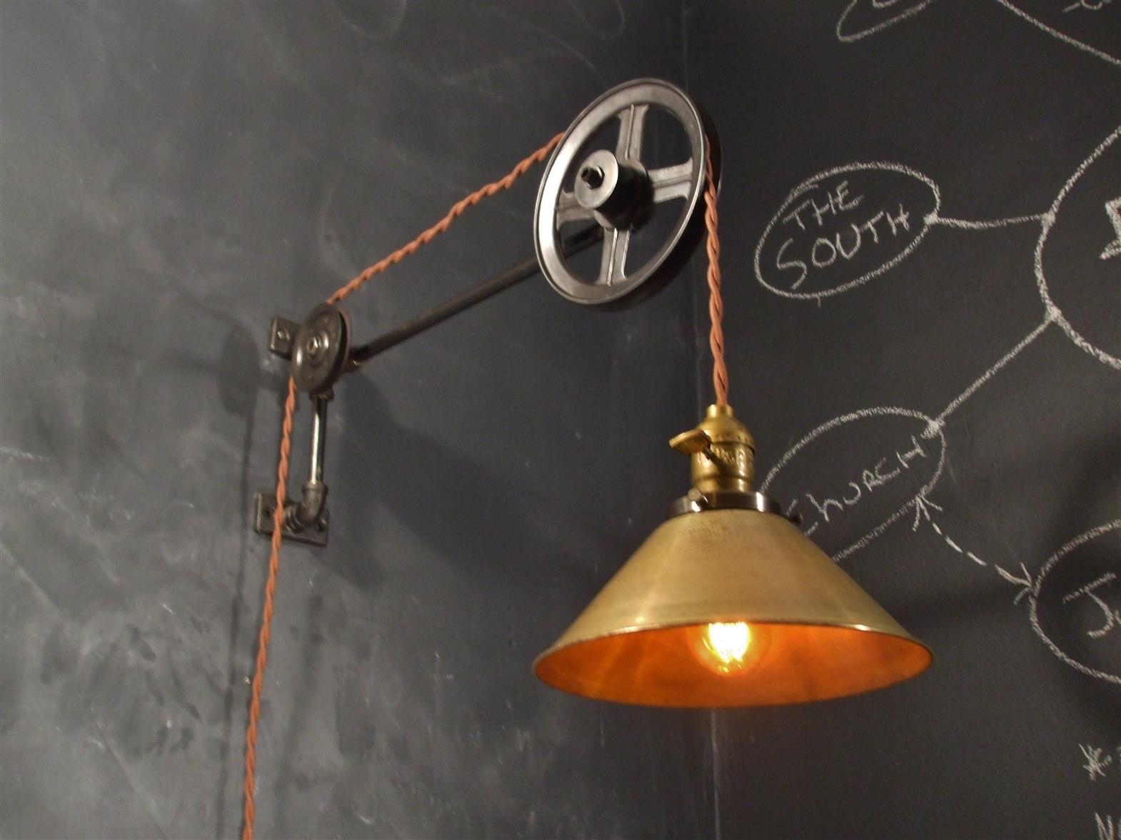 Vintage Pulley Lamp Large