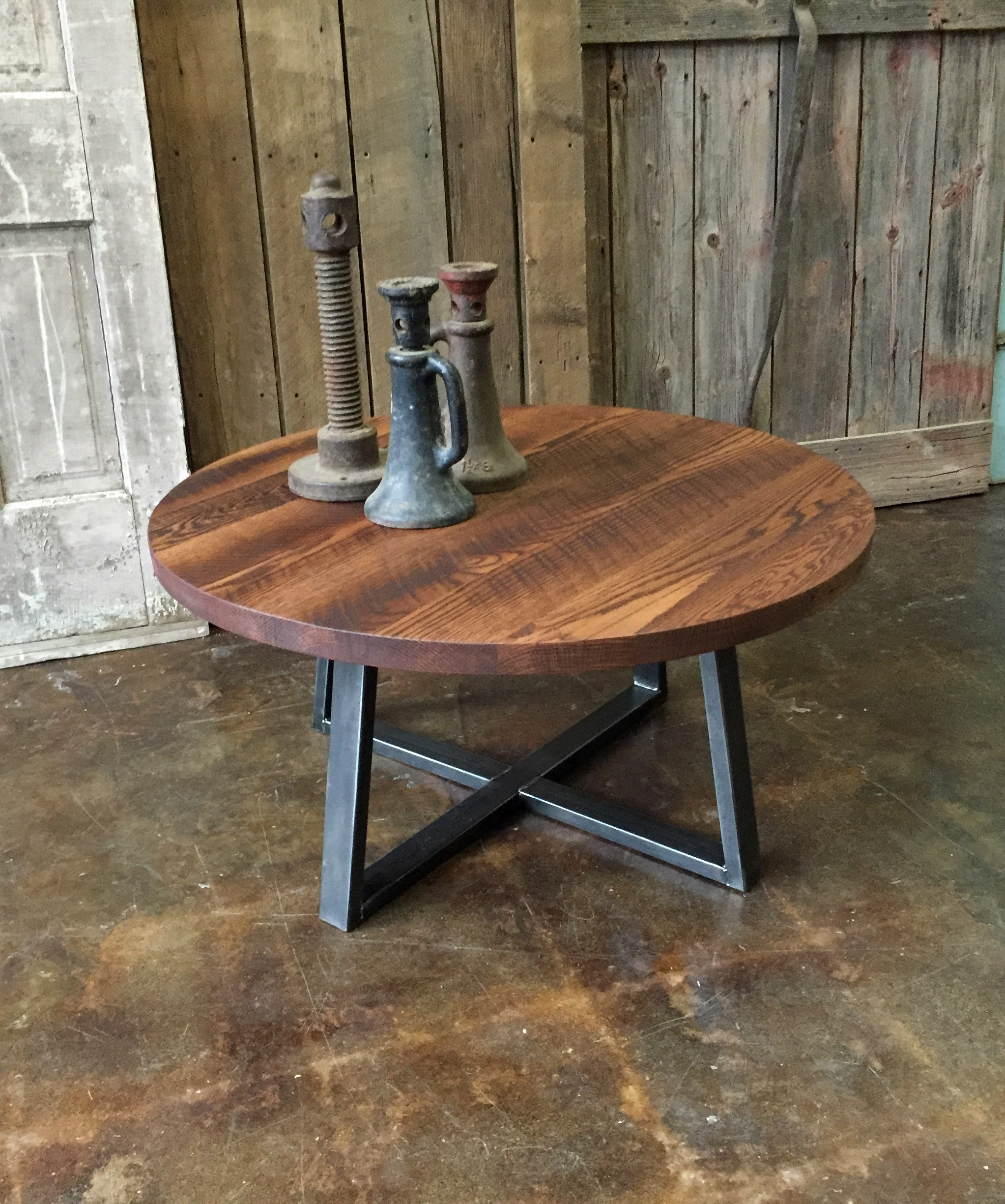 Round Reclaimed Wood Coffee Table What We Make