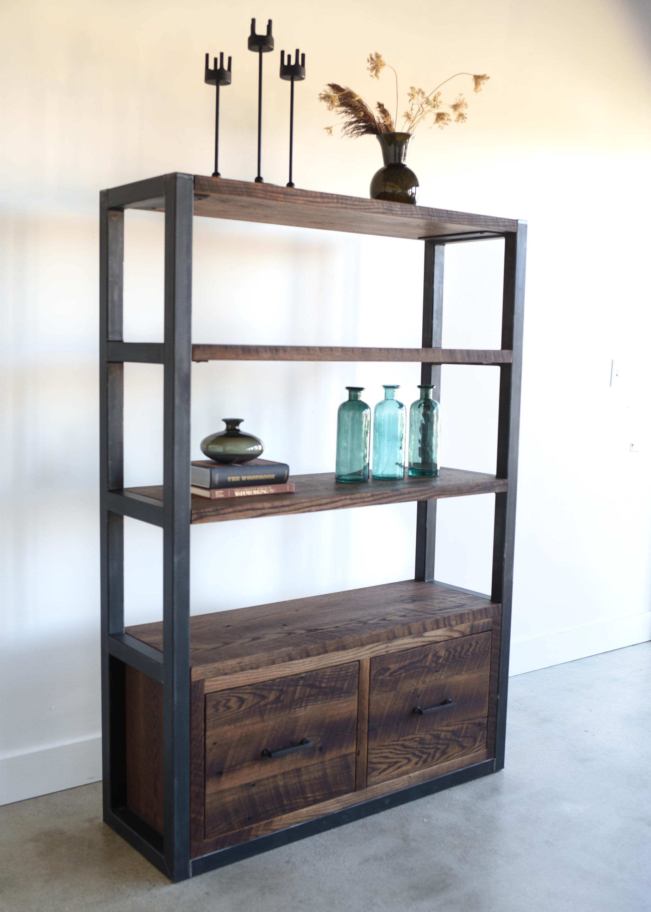 Industrial Reclaimed Wood Bookshelf Steel Frame What We Make