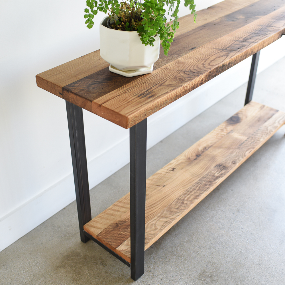 Reclaimed Wood Console Table With Lower