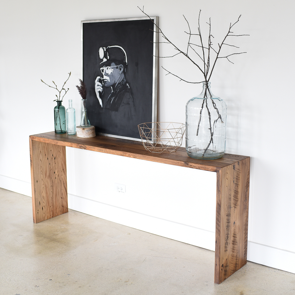 Reclaimed Wood Modern Console Table - WHAT WE MAKE