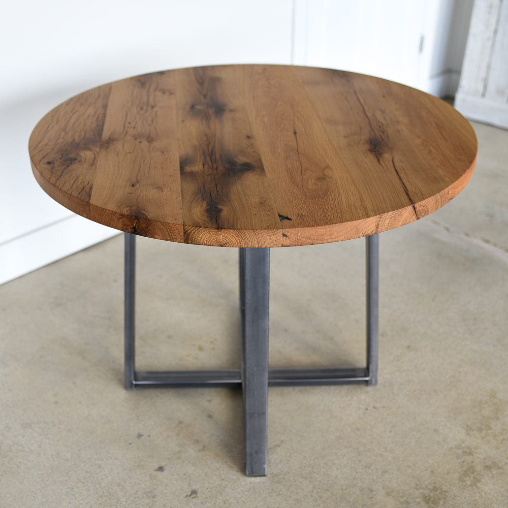 Round Kitchen Table / Steel Criss Cross Base - WHAT WE MAKE