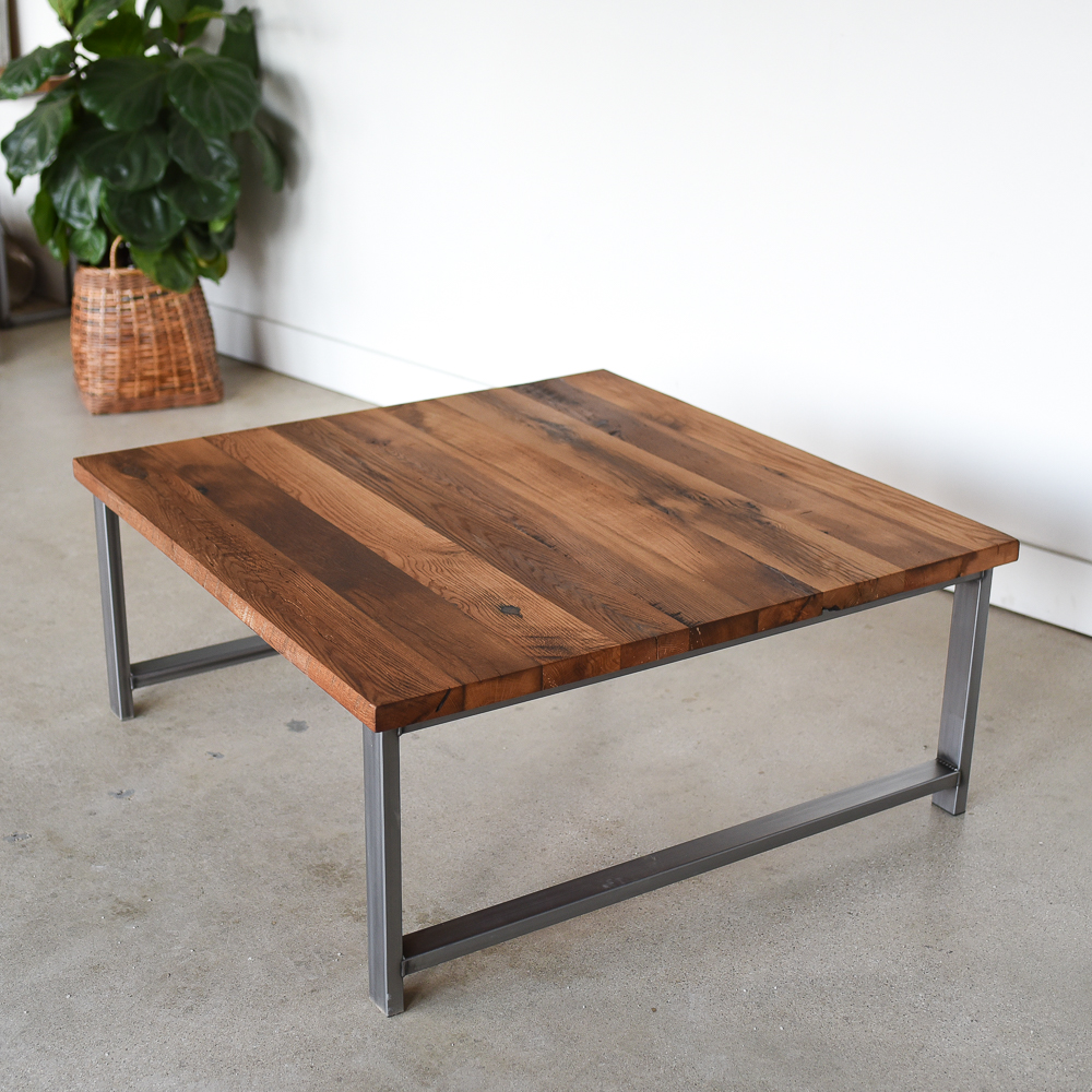 - Square Reclaimed Wood Coffee Table / H-Shaped Metal Legs - WHAT WE MAKE