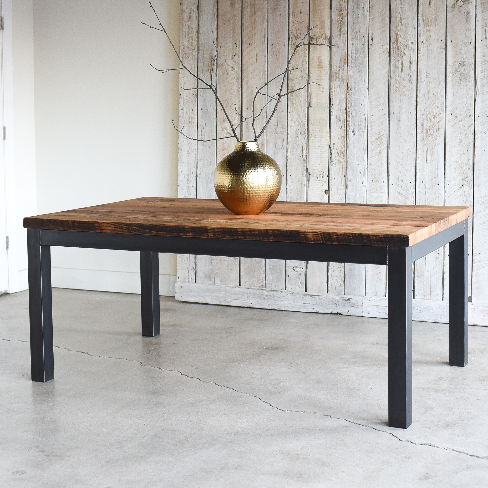 Industrial Steel Frame Dining Table 1 5 2 Reclaimed Top