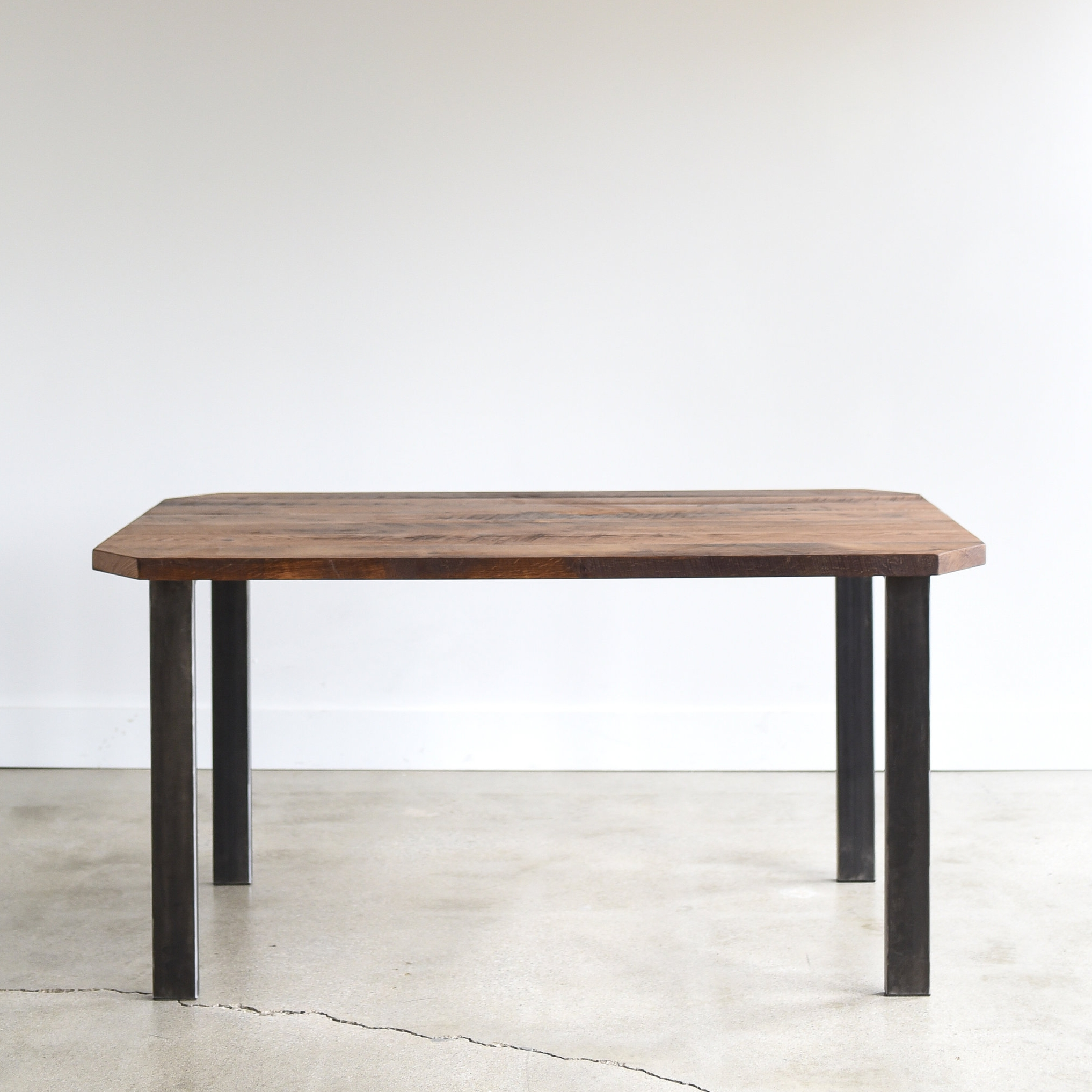 Reclaimed Wood Clipped Corners Dining Table / Metal Post Legs - WHAT WE MAKE