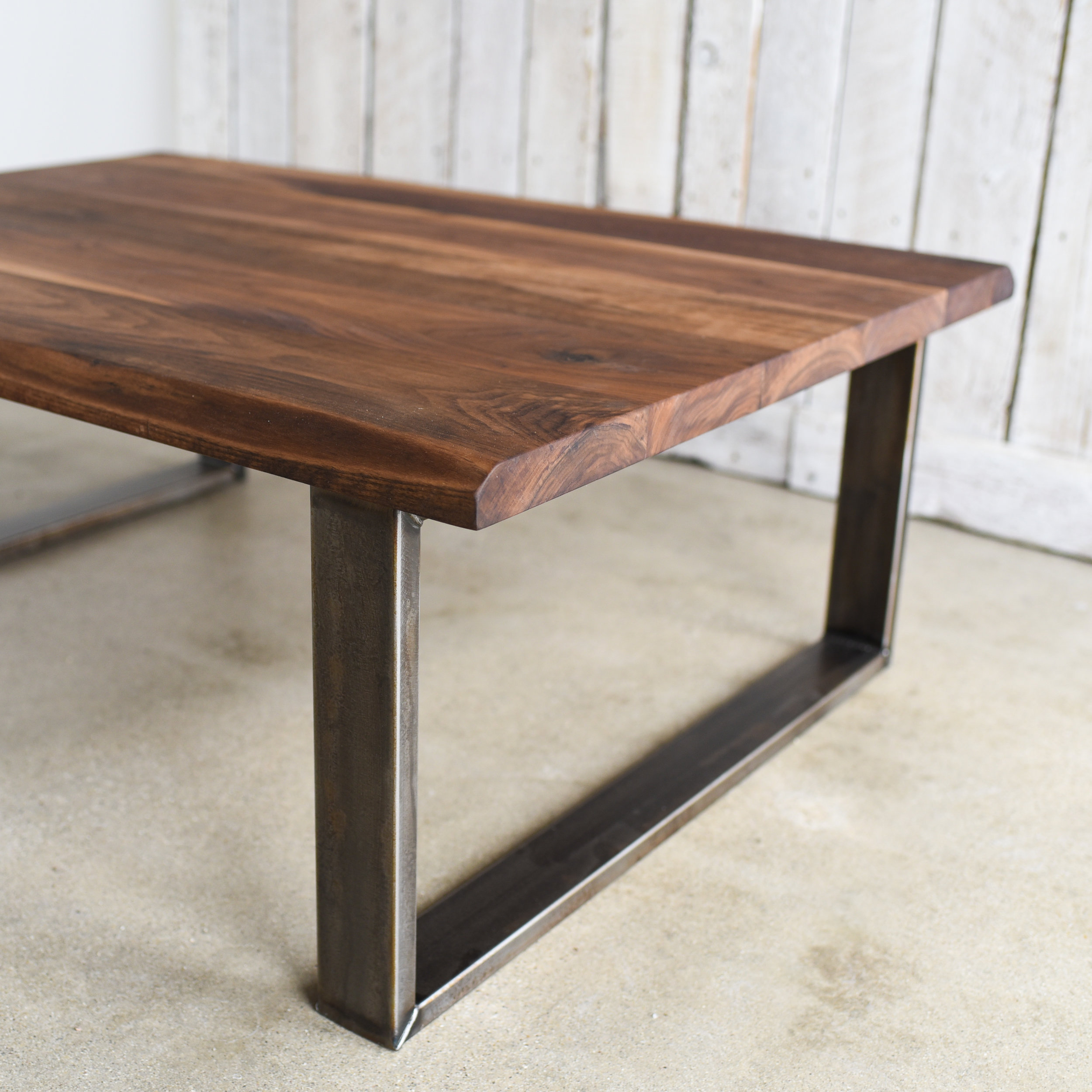 Walnut Live Edge Coffee Table Industrial U Shaped Steel Legs