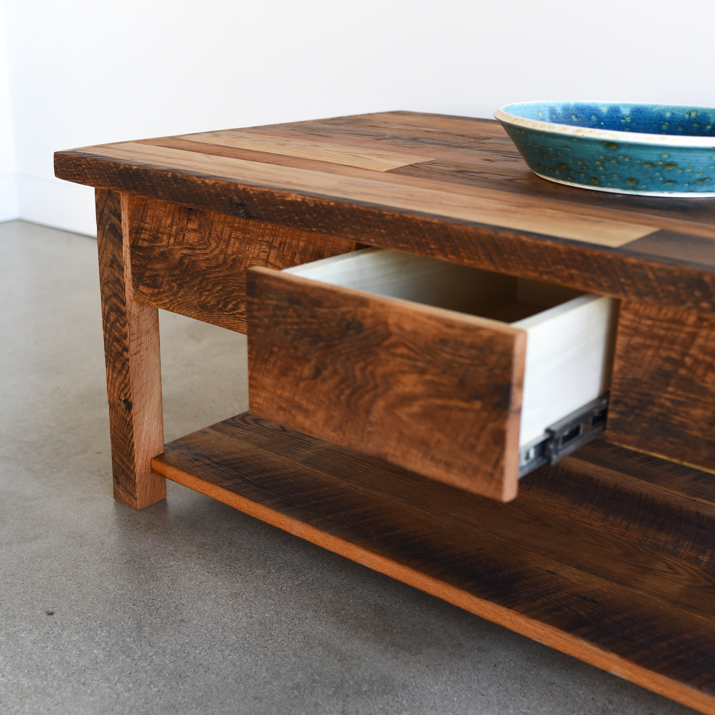 Reclaimed Patchwork Wood Coffee Table Lower Shelf Hidden Drawer What We Make