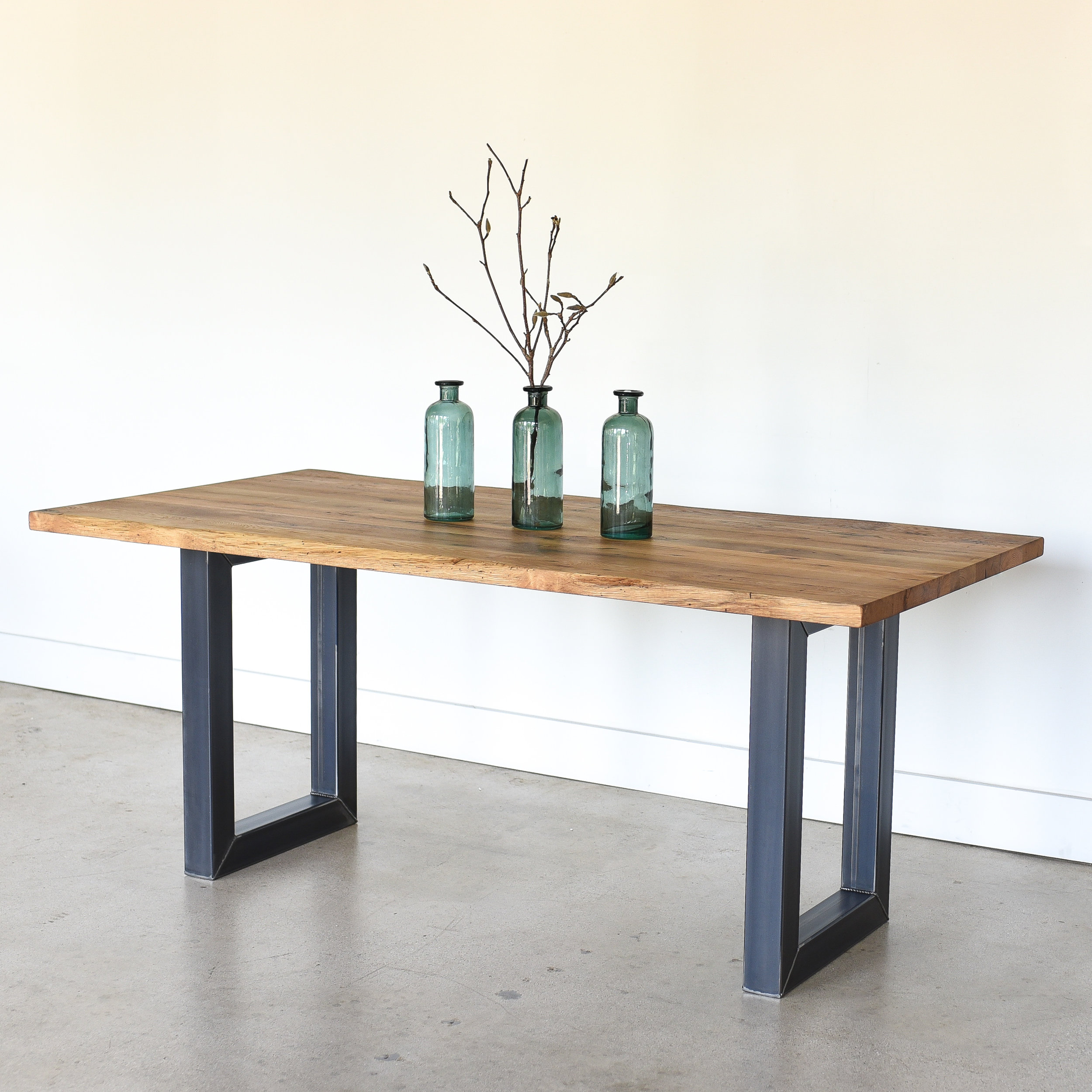 Reclaimed Live Edge Dining Table 3 X 3 Rectangle Metal Legs