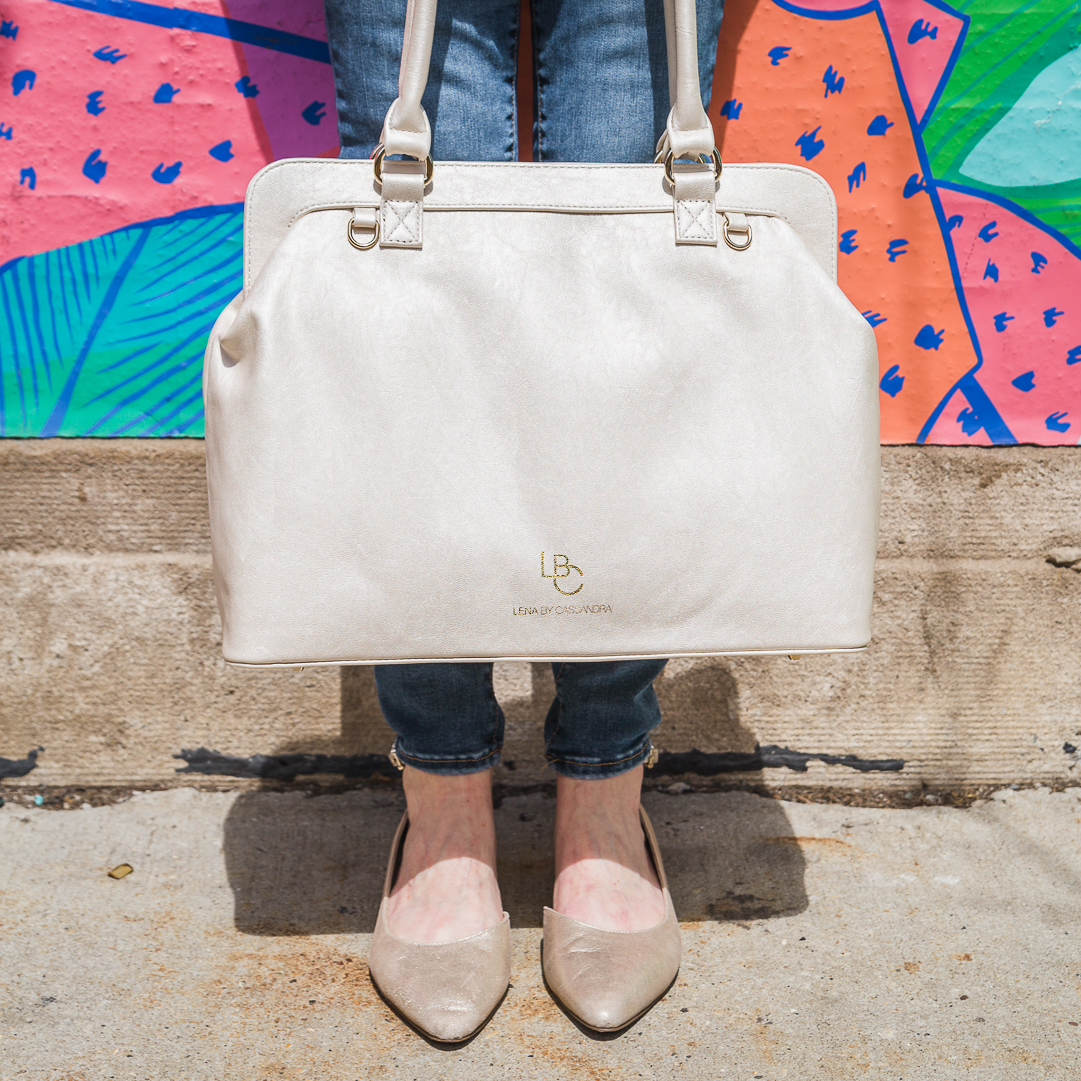 The Cassandra Pearlized White Vegan Leather Designer Diaper Bag From Lena By Bags