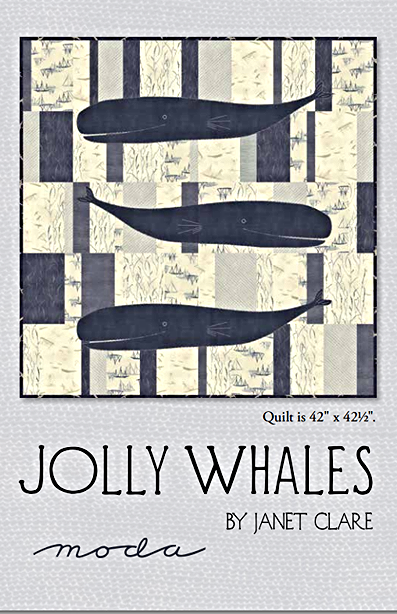 Moda MORE HEARTY GOOD WISHES Fabric  Nautical JOLLY WHALES QUILT KIT Pattern