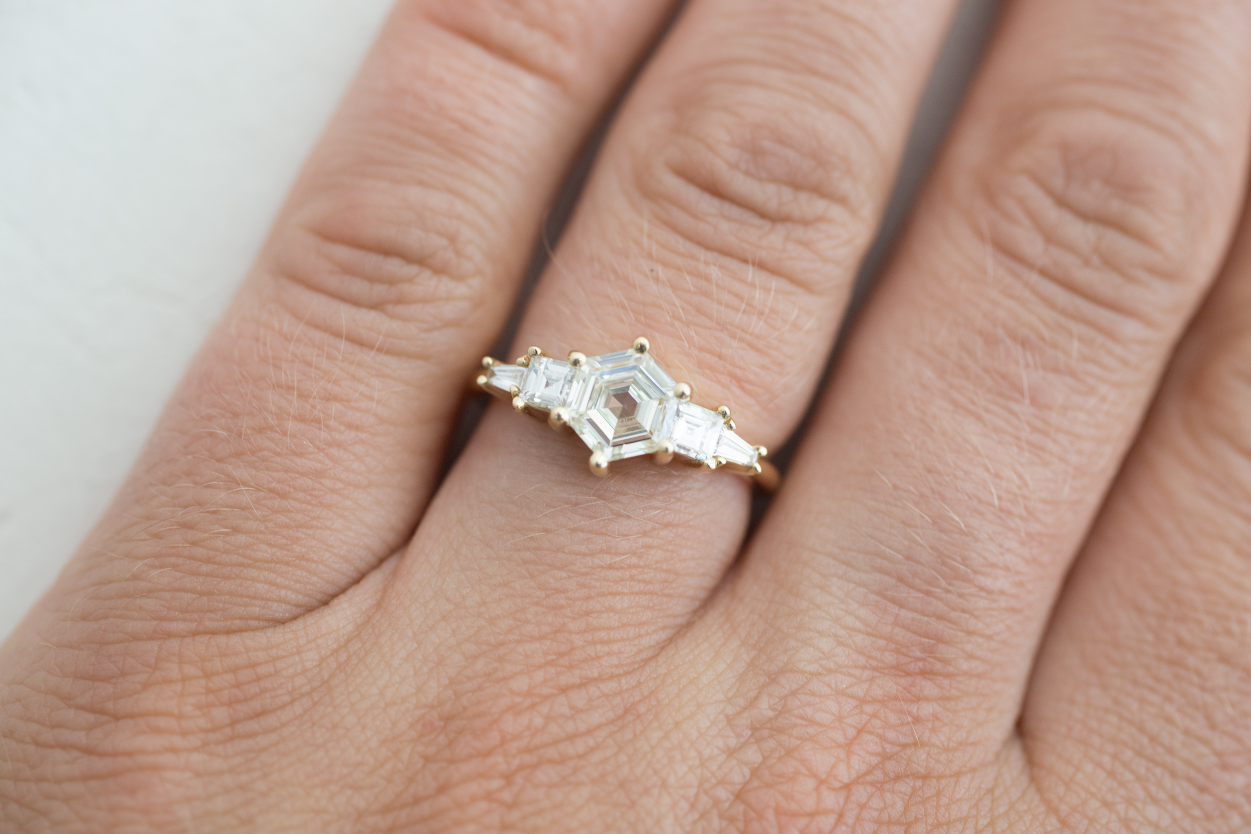 e65f70eba4fd1 Hexagon Step–Cut Diamond Cluster Ring | Engagement Ring | 14k Recycled Gold  | One of a Kind — Mineralogy