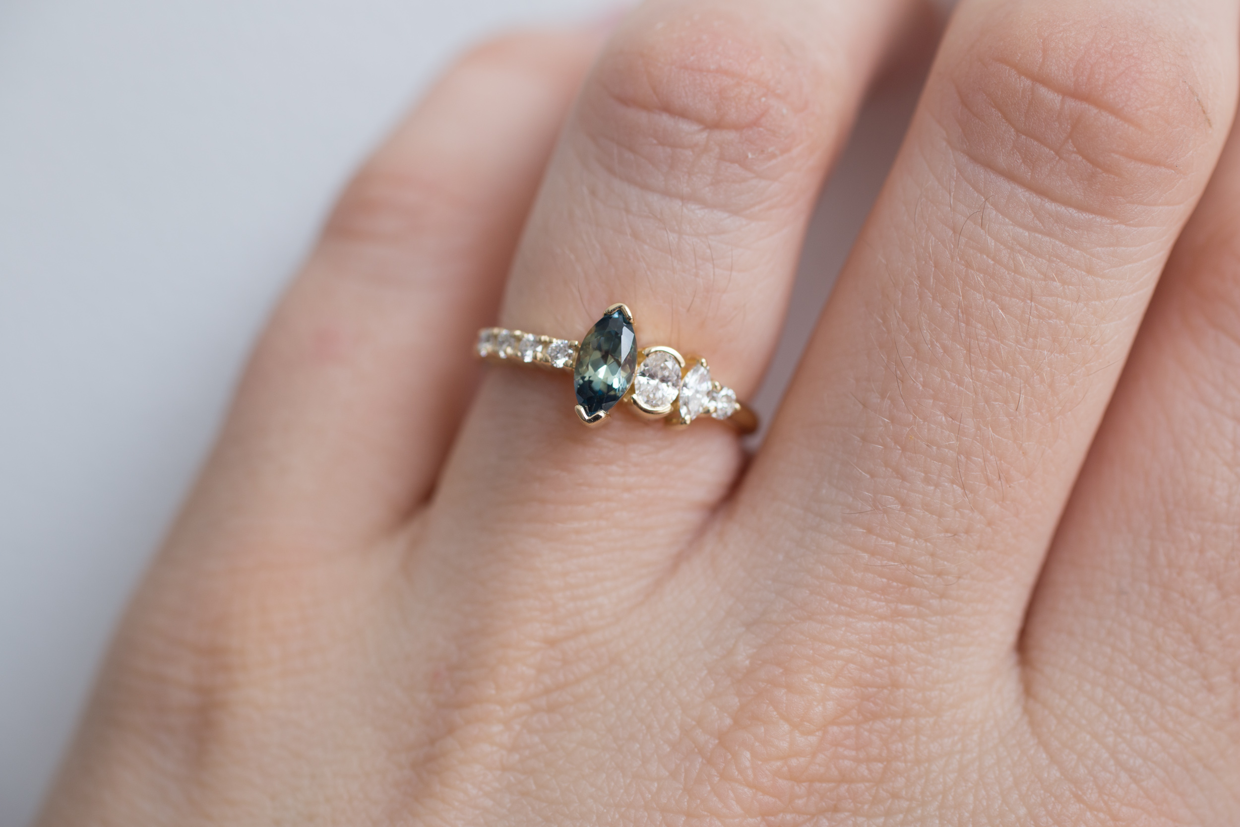 Marquise Bicolor Montana Sapphire + Asymmetrical Diamond Ring | 14k  Recycled Gold | One of a Kind — Mineralogy