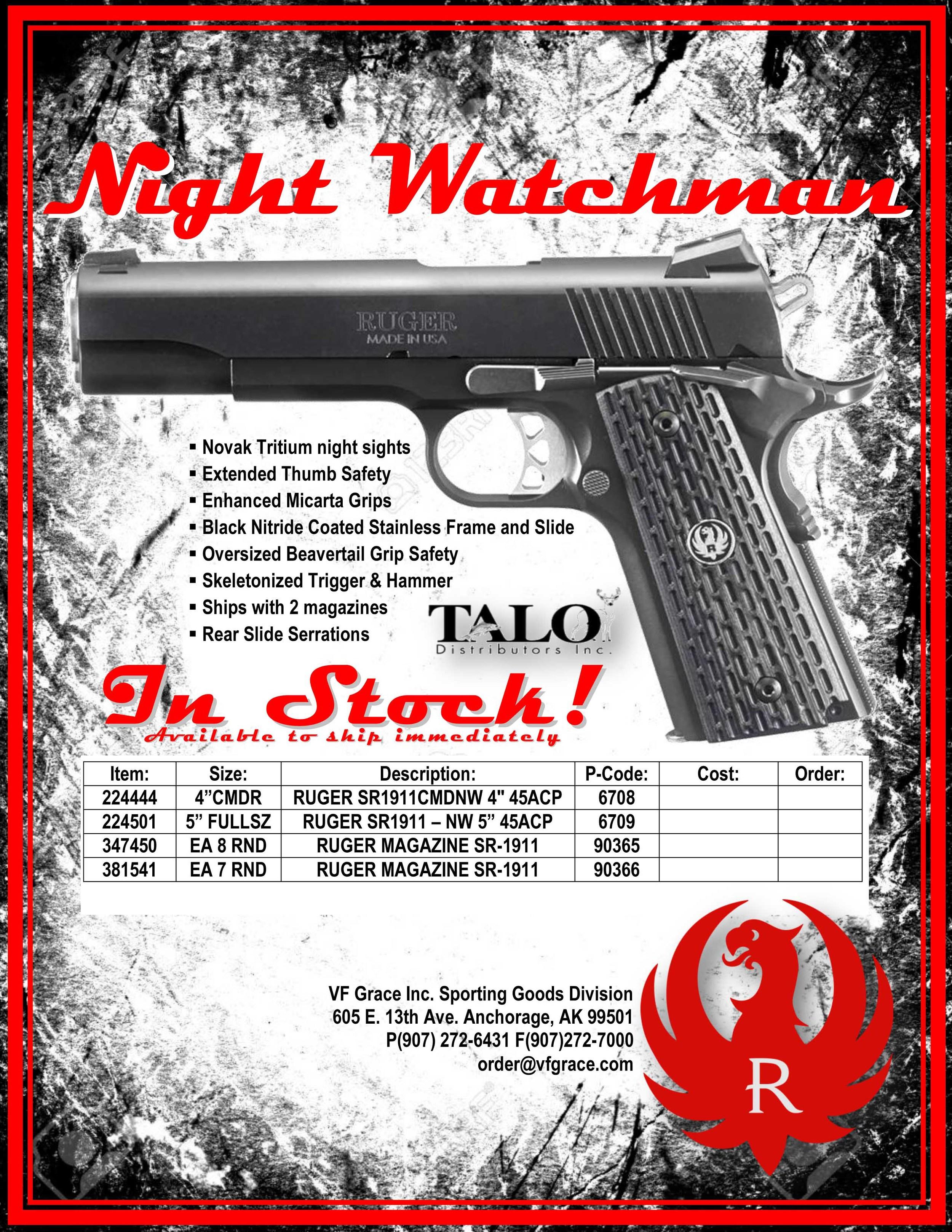 Night Watchman Ruger 1911 O6707 & 06708 — TALO Distributors Inc
