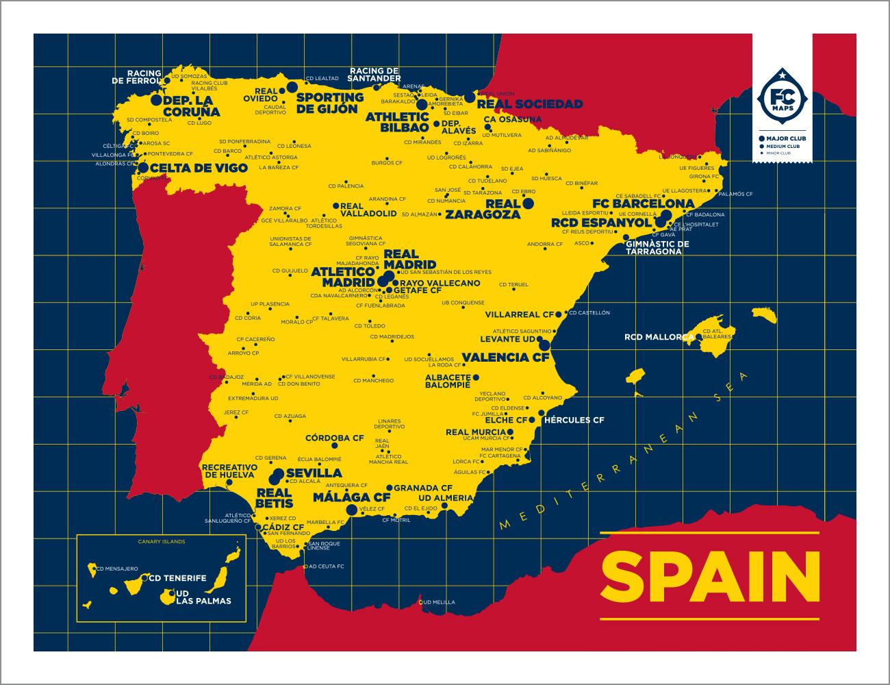 Football Map Of Spain.Spain Map Football Club Maps