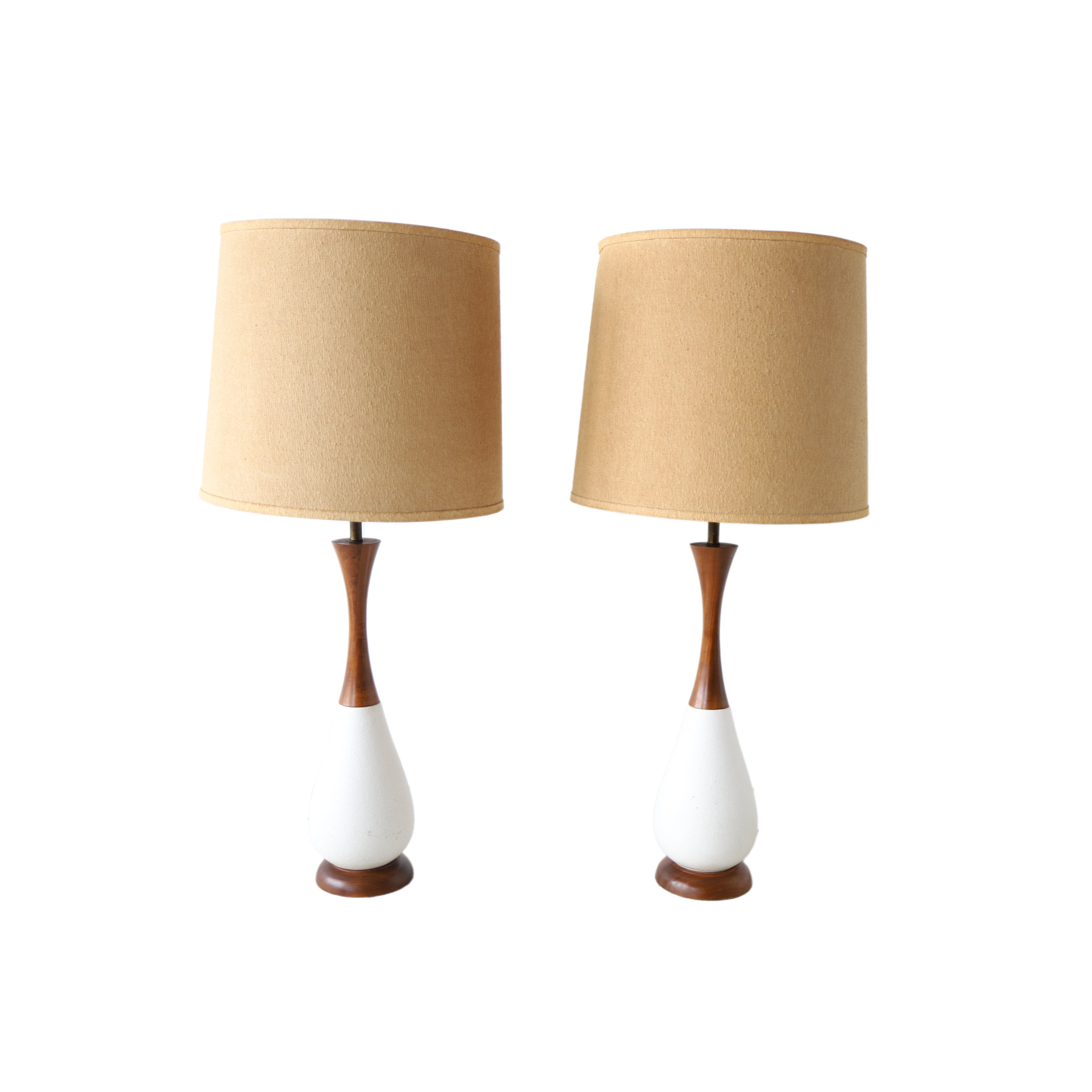 At 1st Sight New Products Pair Of Vintage Mid Century Modern White Ceramic And Walnut Table Lamps