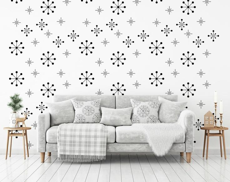 Atomic Starburst Decal Snowflake Wall Decor Star Graphics