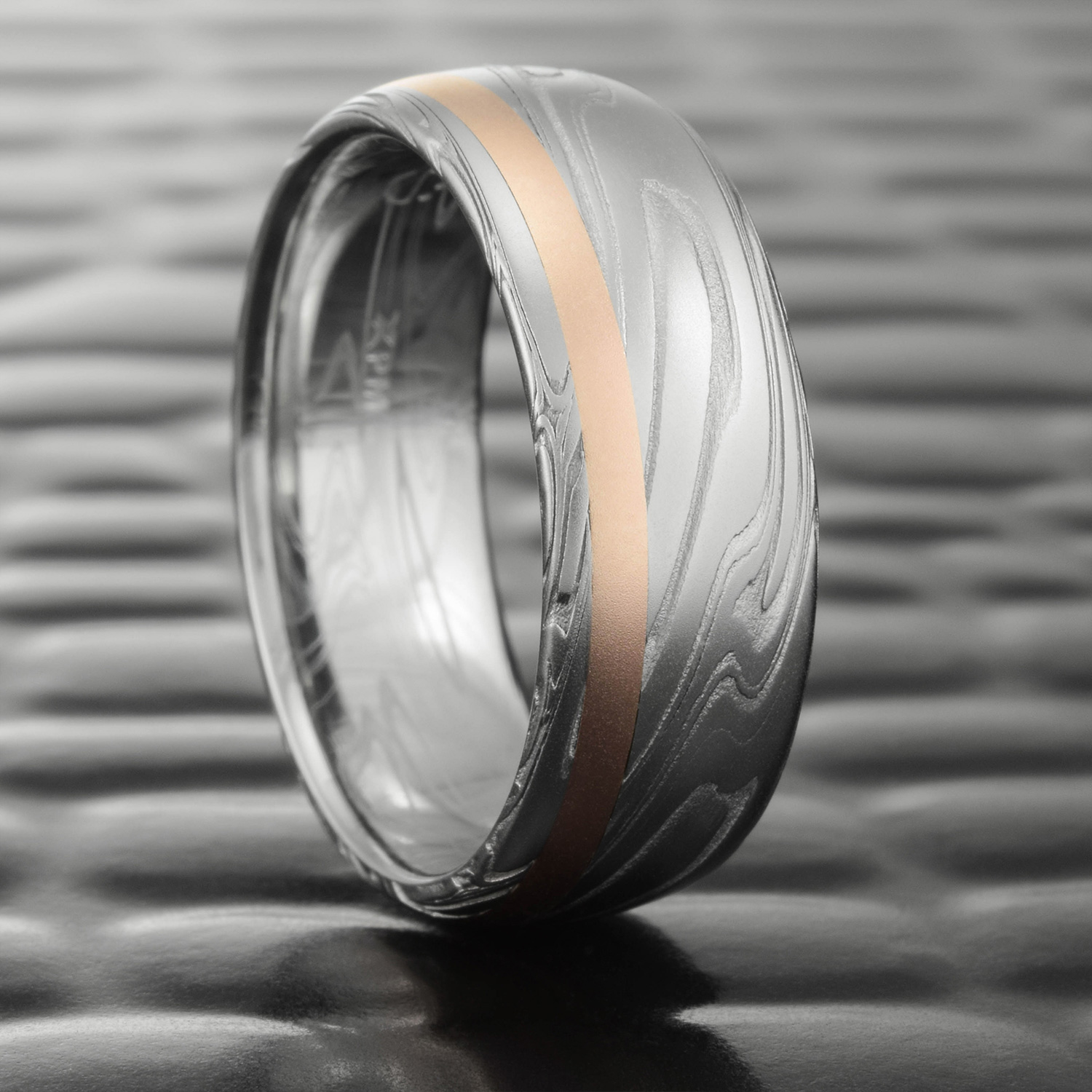 Stainless Damascus Steel Wedding Band Domed With Offset 14k Rose Gold Inlay Swirling Current Steven Jacob