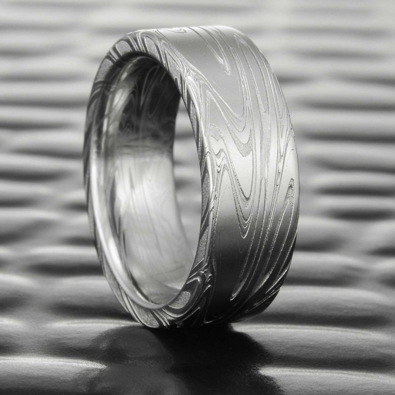 Stainless Steel Polish Finished Wavy Flat Band Ring
