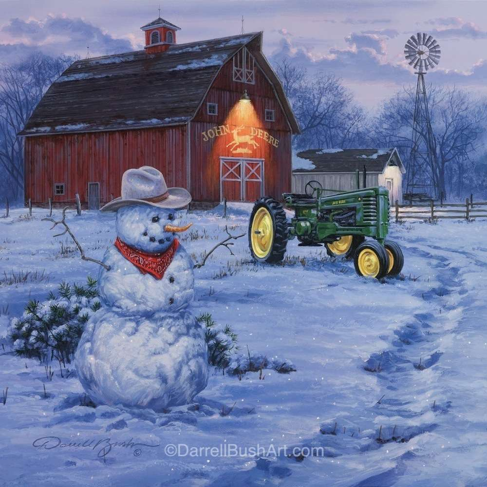 Country Christmas Background.Country Christmas Darrell Bush Art