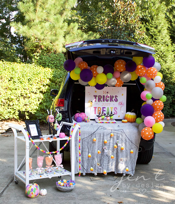 Trunk Or Treat Halloween Sign No Tricks Just Treats Jen T By Design