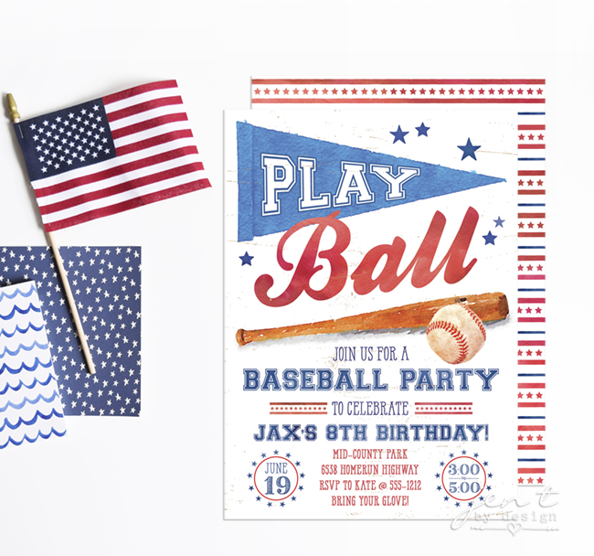 Baseball Party Invitations Jen T By Design