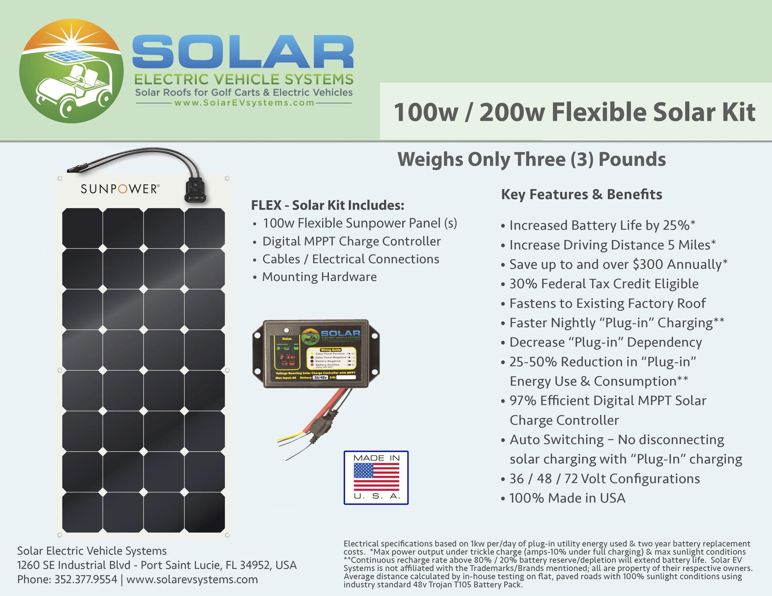 100 Watt Flexable Solar Panel Kit — Solar EV Systems - Solar Golf Carts,  Roof, Tops, Solar Panel LSV Cart Kit for EZGO, Club Car, STAR, Yamaha, Bad
