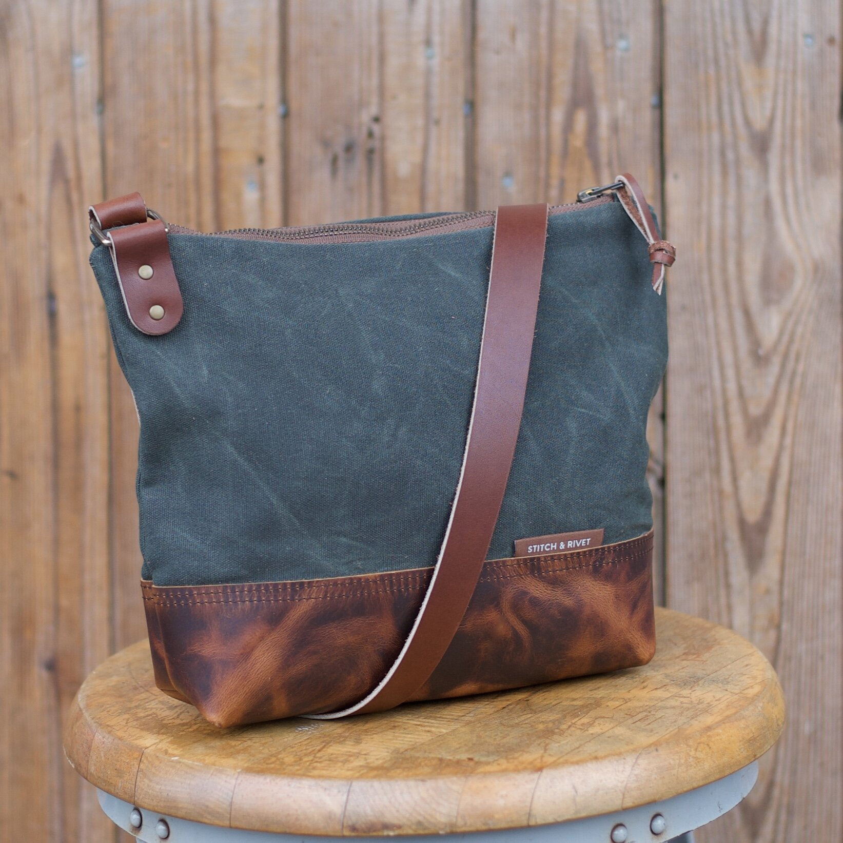 Waxed Canvas And Leather Crossbody Day