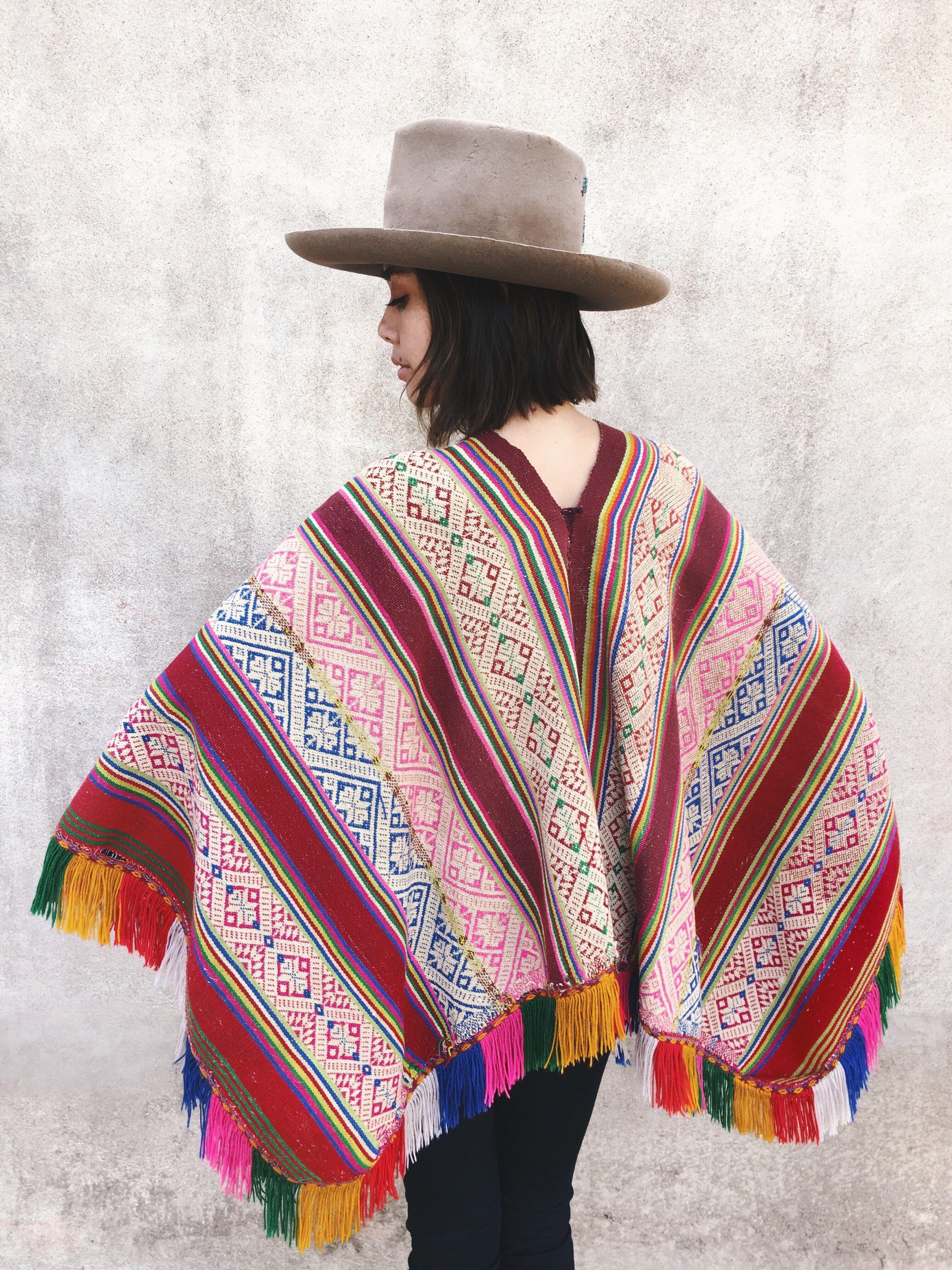 2c58a4222 Vintage Peruvian Mountain Rainbow Poncho — Prism of Threads