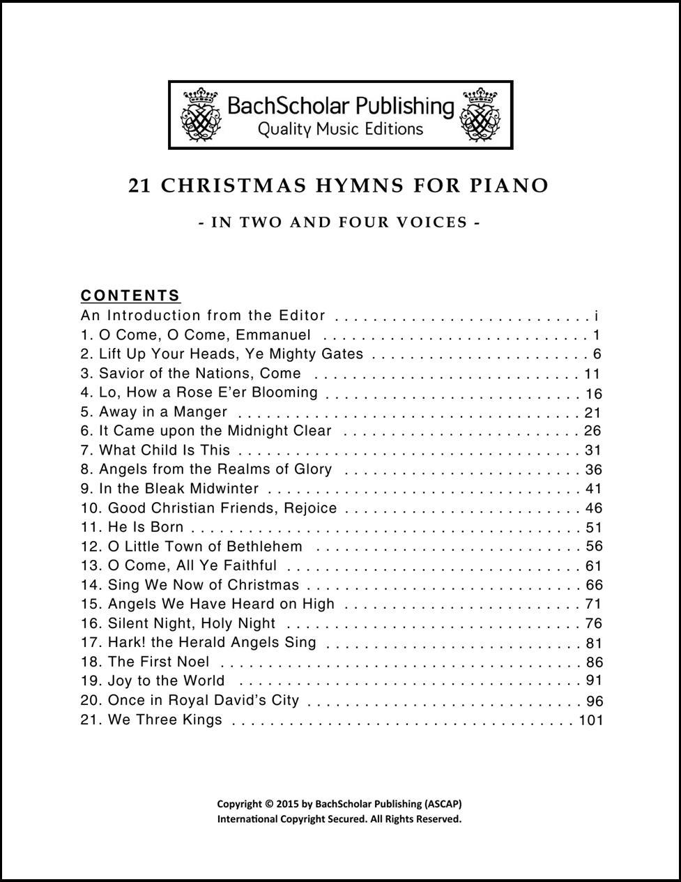 Christmas Hymns.21 Christmas Hymns For Piano Bachscholar
